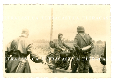 French Motorcycle Soldier Surrendering to German Soldiers, France 1940, Original WW2 Photo