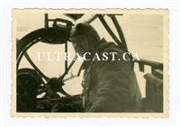 Air Crewman in the Nose of a He-111, Original WW2 Photo