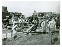 German 10 cm Gun with Crew Cleaning the Barrel, Original WW2 Photo