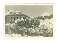 21 cm Gun with Snow Chain on Wheel and Unit Markings, Original WW2 Photo