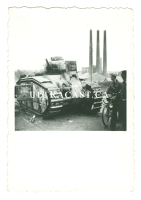 "Captured French Char B Tank named ""Hardi"" No. 238, France 1940, Original WW2 Photo"