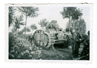 "German Soldiers with Captured French Char B Tank Named ""Bourgueil"" No. 355, France 1940, Original WW2 Photo"
