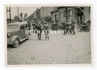 German Soldiers with Captured French Motorcycle Troops and Officers, France 1940, Original WW2 Photo