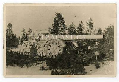 21 cm Gun with Snow Chained Wheels, Original WW2 Photo