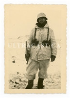 German Soldier With Facial Wound Wearing Winter Uniform with K98, Russia, Original WW2 Photo
