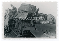 German Motorcycle Troops with a Captured T-34 Tank, Russia , Original WW2 Photo