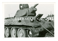 Abandoned T-34 Tank, Great Details, Original WW2 Photo