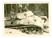 German Soldiers Examine an Abandoned T-34 Tank, Russia, Original WW2 Photo