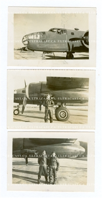 3 Photo Set, B-25 and Airmen, Original WW2 Photos