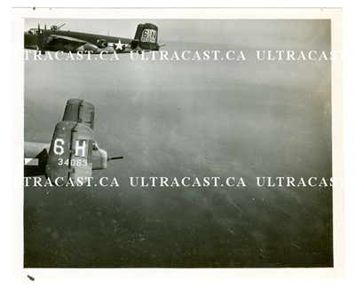 Two B-25's in Flight, Serial Number 34063 and 327784, Original WW2 Photo