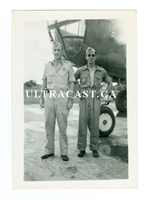B-25 and Two Crewmen, Original WW2 Photo