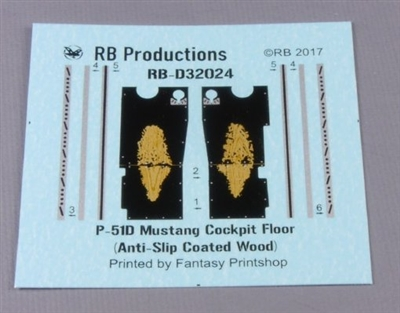 RB-Productions RB-D32024 - P-51D Mustang Cockpit Floor - Anti-Slip Coated Wood