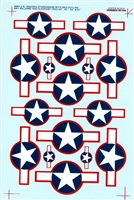 Super Scale 48-342 - WWII Insignia Stars & Bars with red outline AN-1-9a (June 1943 to August 1943)