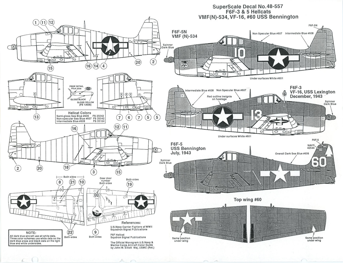Super Scale 48-557 - F6F-3 & 5 Hellcats