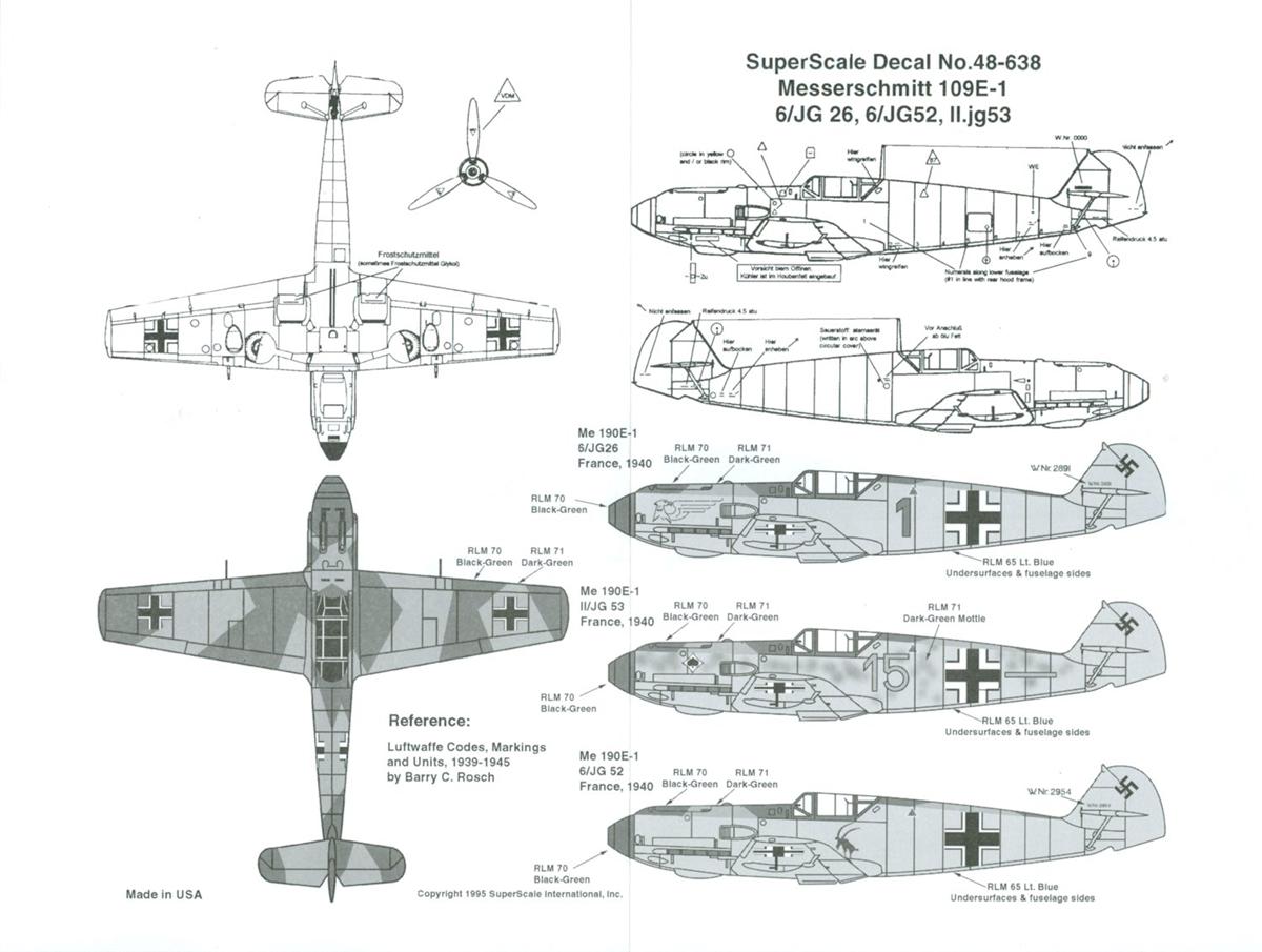 Superscale Decal 48-638 Messerschmitt 109E-1