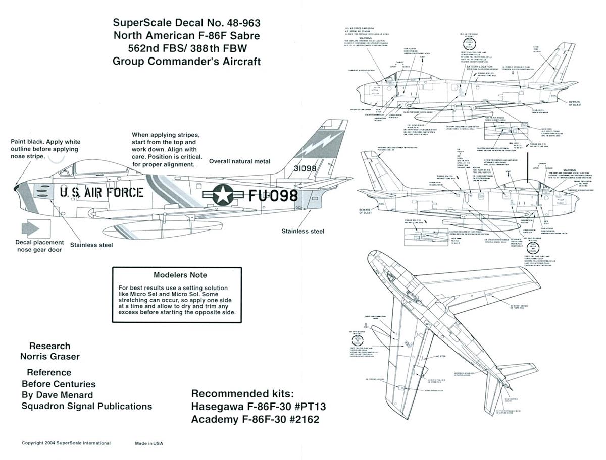 Super Scale 48-963 - North American F-86F Sabre