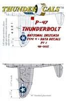 Thundercals 48-005 - P-47 Thunderbolt National Insignia Type 4 + Data Decals, Part 1