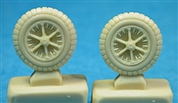 Ultracast 48161 - Messerschmitt Bf 109 B-E Wheels (first pattern spoked rims), 650 x 150 ribbed tires