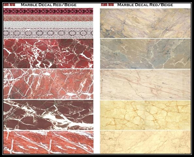 "Uschi 1018 - Marble Decal ""Red & Beige"""