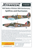Xtradecal X48086 - RAF Battle of Britain 50th Anniversary, Spitfires and Hurricanes