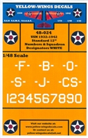 "Yellow Wings 48-024 - USN 1932-1942 Standard 12"" Numbers & Squadron Designators, White"