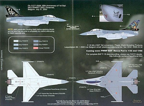 EAGLE STRIKE  1//48 48261 F-16 WORLDWIDE MARKINGS