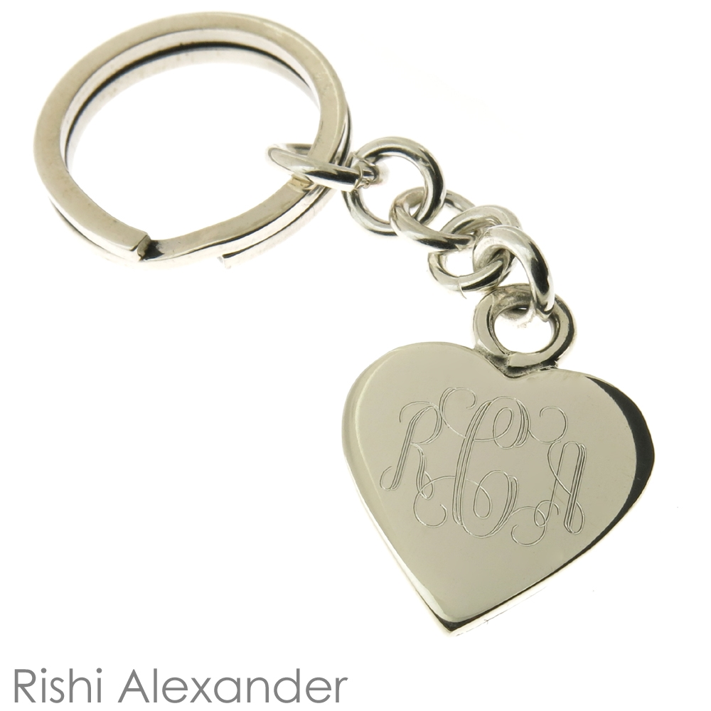 HACOOL 925 Sterling Silver Personalized Heart Name Keychain Custom Made with Any Names