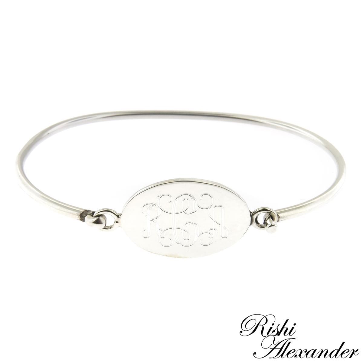 925 Sterling Silver Oval Monogram Bracelet