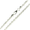Sterling Silver Diamond Cut Rope Chain 3.5mm thick with a lobster claw clasp