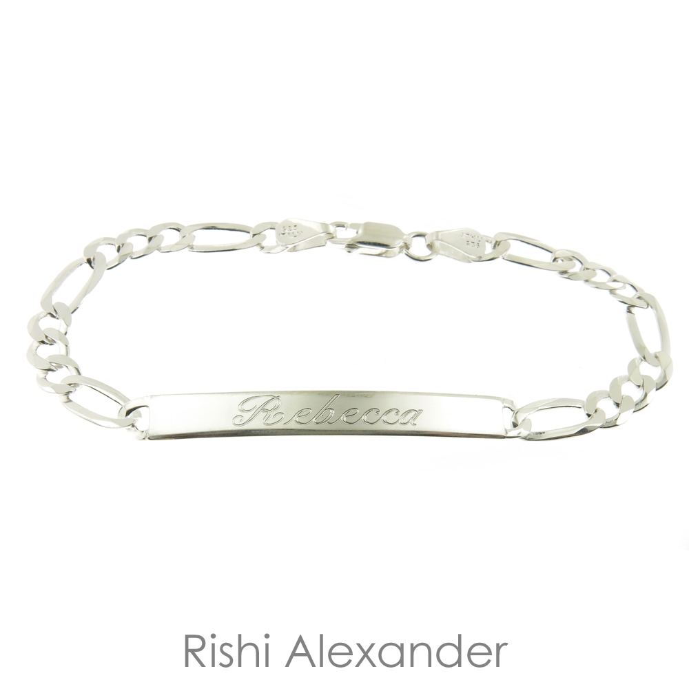 Rishi Alexander 7 Inch 925 Sterling Silver Figaro Link Id Name Bracelet Italian Made Stamped