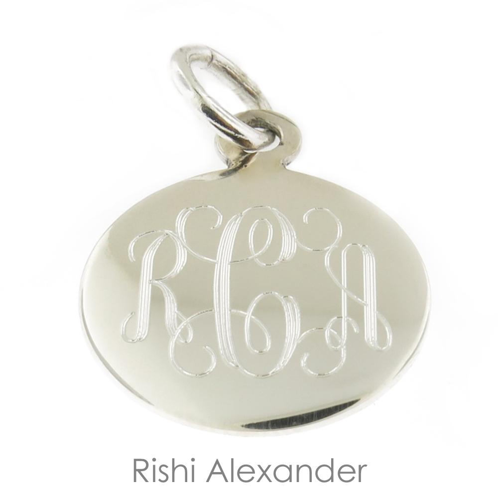 Rishi alexander sterling silver personalized round monogram pendant alternative views aloadofball Gallery