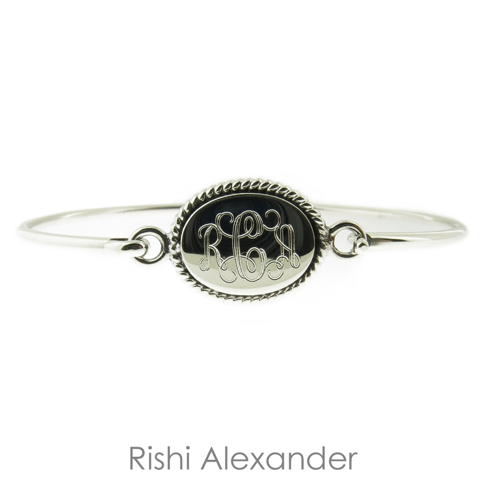925 Sterling Silver Oval With Rope Edge