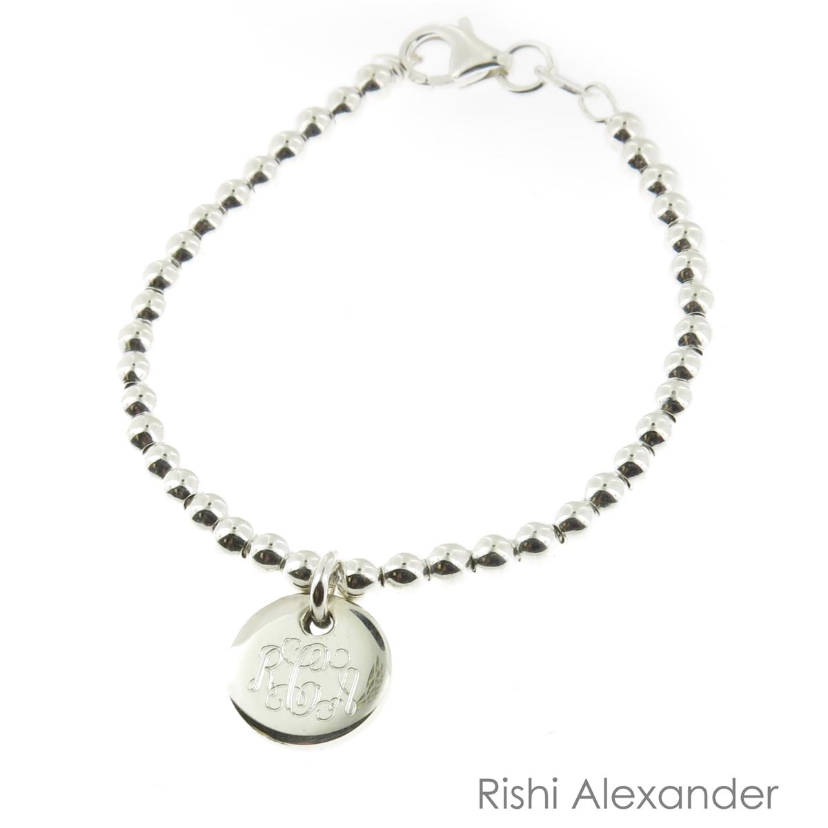 "925 Sterling Silver Monogram Ball Bead Bracelet Size 8/"" inch"