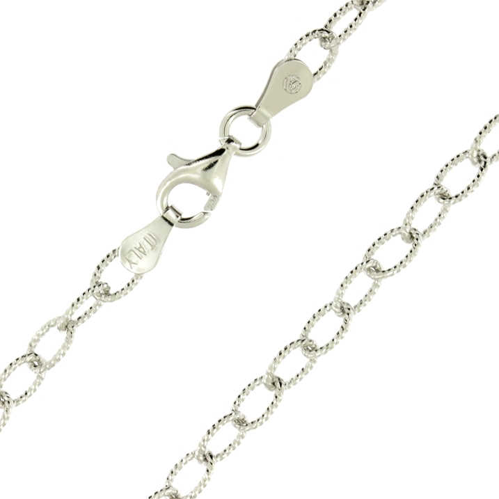 925 Sterling Silver /& 14k Gold Diamond-Cut Oval Bead Link Italian Chain Necklace
