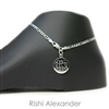 925 steling silver figaro link 3mm personalized engraved monogram anklet