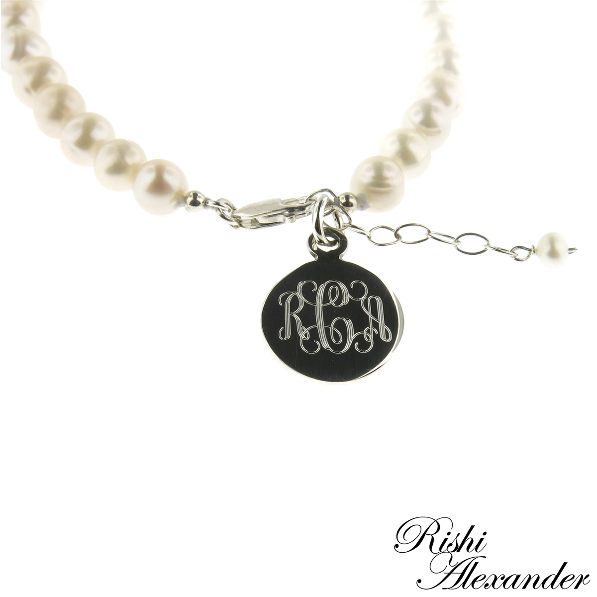 7666c9986 925 steling silver and freshwater pearl monogram bracelet by Rishi ...