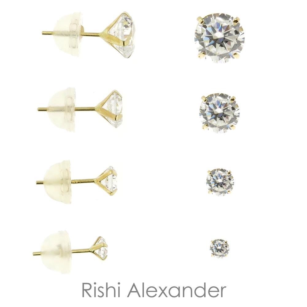 Stud Earrings 14Kt Gold Cz Stud Earrings