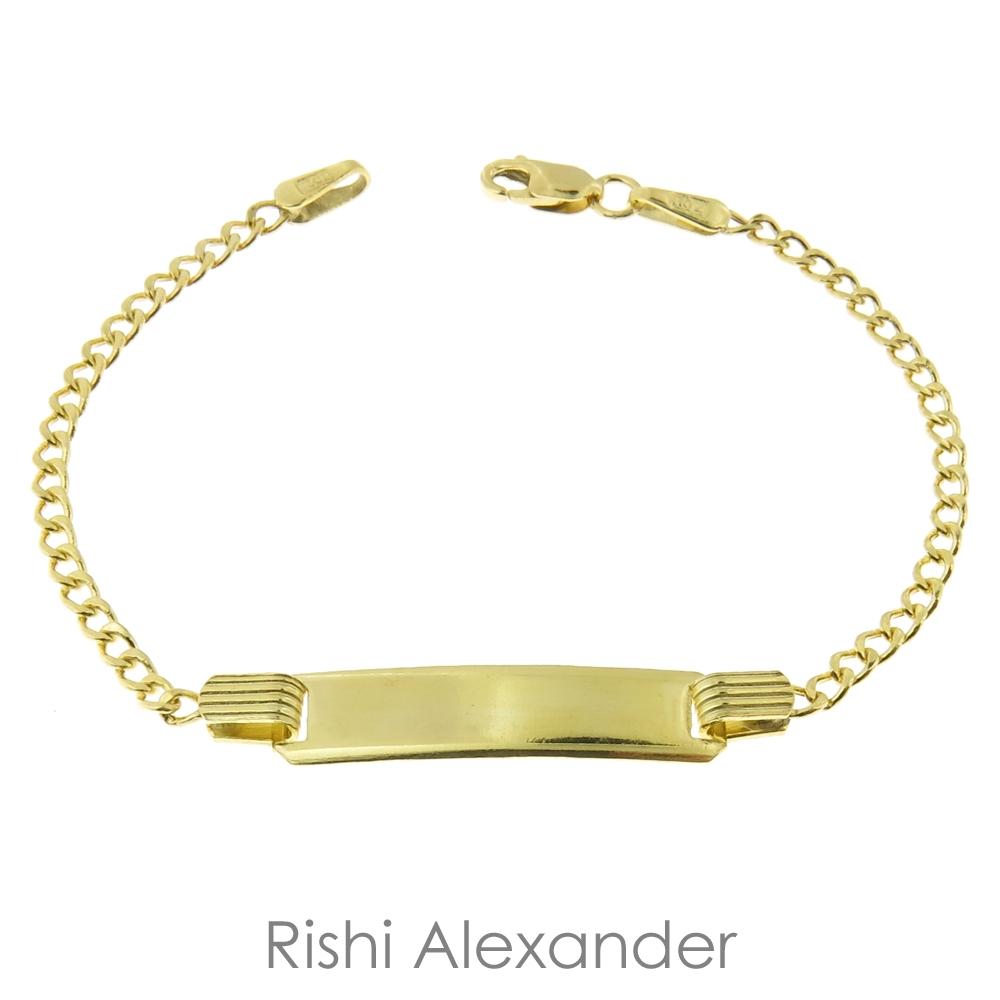 10k Gold Baby Id Curb Bracelet By Rishi