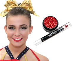 Red Glitter Lips for Cheer & Dance