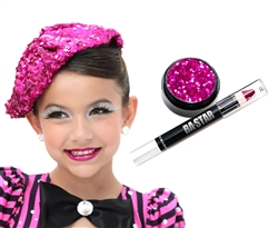 Fire Magenta Glitter Lip Cheer Essential Makeup Kit