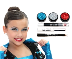 Ava Turquoise & Holo Silver Glitter 6-Piece Dance Makeup Kit