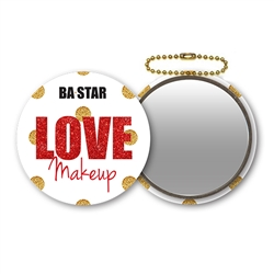Sparkle Rd Polka Dot Mirror for Custom  Cheer or Dance Makeup  Kits