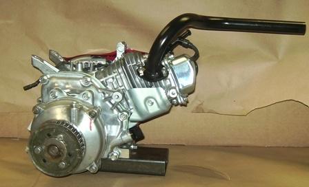 Header, Mini Bike, Single, Center Outlet, for Clamp on Muffler, GX200,  GX160, 6 5 Chinese OHV, & 212 Predator