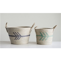 Natural Seagrass Baskets w/ Arrow & Handles- Large