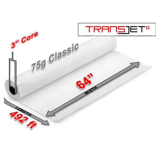 "Cham Transjet Classic Sublimation Paper 75g (64"" x 492FT)"