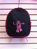 BLACK BACKPACK WITH PINK BALLERINA SHOES