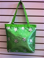 Green Sequins Star Tote Bag