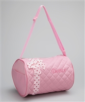 Sweet Pink Duffle Bag With Pink Polka Dot Bow