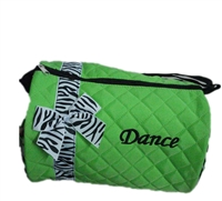 Green Duffle Bag With Zebra Bow