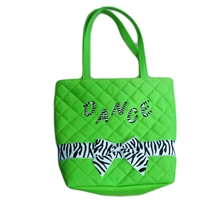 Green Tote Bag With Zebra Bow